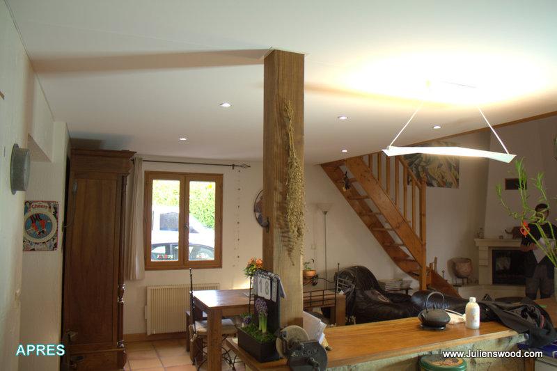 finition sur faux plafond en osb bois plafonds et murs tendus. Black Bedroom Furniture Sets. Home Design Ideas